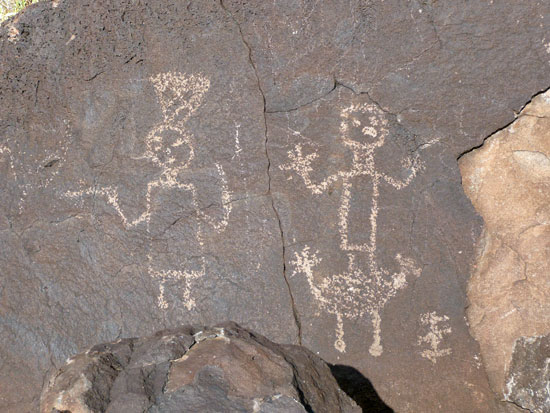 Human figures are common petroglyphs - like this one found along the Cliff Base Trail