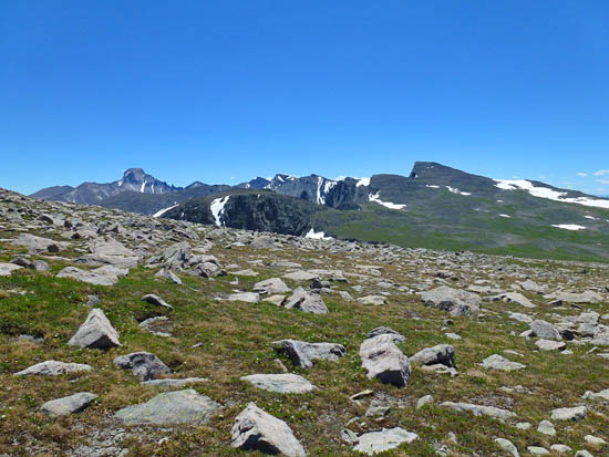 Cross-country travel through open tundra en route to Otis Peak