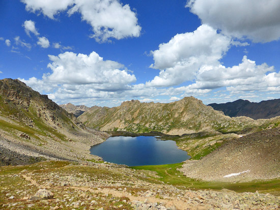 View of Lost Man Lake (12,482') from Lost Man Pass (12,810')