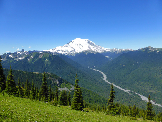 View of Mount Rainier on the way to Crystal Peak