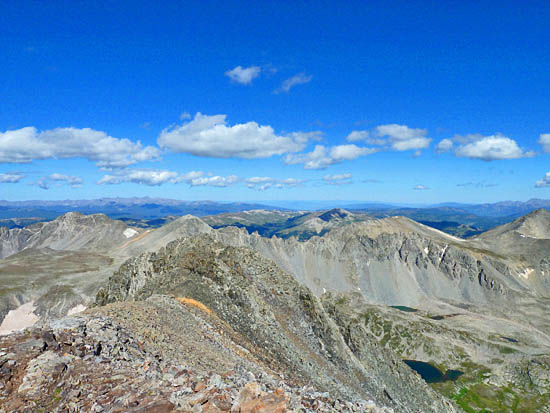 Looking north acros McCullough Gulch and the Tenmile Range from Quandary Peak
