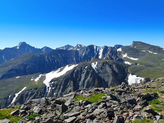 Looking north across the Continental Divide from Hallet Peak (12,713')
