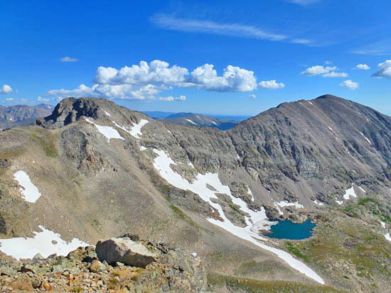 View of Paiute Peak (13,088') and Mt Audubon (13,223') from Mt Toll